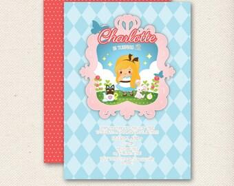 PRINTABLE Alice in Wonderland Birthday Invitation | Personalized Digital Party Invite | Baby Shower