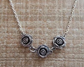 Triple Rose Necklace, Rose Pendant, Rose Necklace, Silver Necklace, Silver Pendant, 15 Inches With A 2 Inch Extender Chain