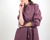 Soviet vintage coat, purple coat, trench coat, spring coat, women jacket, women coat, M, 38