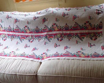 Mexican Motif Table Runner/Wall Hanging, Vintage Made From 2 Long Cotton Dish Towels Sewn Together