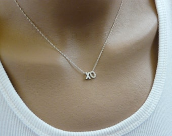 XO necklace, Hugs and Kisses necklace, Silver necklace, Love necklace, Simple Tiny necklace, Everyday necklace, Minimalist, XOXO