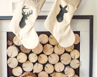 Personalized Rustic Chic Deer Family Stocking silhouette Deer family Rustic christmas Antler Neutral Stocking