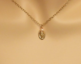 Gold Miraculous Mary Medal SUPERIOR QUALITY Dainty 14k Gold Filled Minimalist Tiny Petite Miraculous Mary Catholic