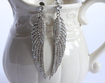 Bridal Earrings Crystal, Bridal Feather Earrings, Bridal Angel Wings Earrings, Swarovski Earrings, Crystal Earrings, Wedding Dangle Earrings
