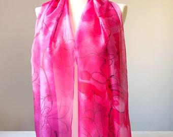 Crimson silk scarf - Magnolia scarf - flower scarves - hand painted silk scarf - pink scarf - pink flower scarf - butterflies