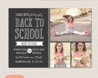 Back to School Mini Session Design -  Photoshop template - Chalkboard Minis MB006 INSTANT DOWNLOAD