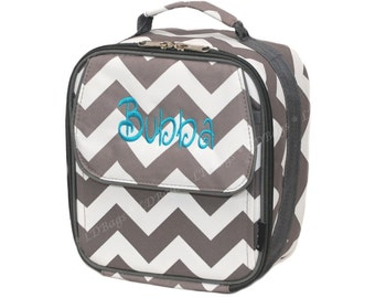 Chevron Lunch Bag | Chevron Lunchbox | Chevron Lunch Tote | Personalized Lunch Bag | School Lunchbox | Kids Lunch Box Gray Chevron Lunchbag