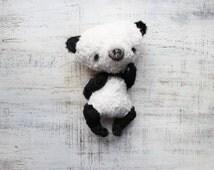 OOAK teddy bear panda artist bear 8 inches black white