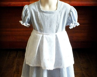 Vintage 1950s Seersucker Dress by Steady As She Goes blue white 2T 3T 4 5 Shirley Temple costume babydoll Alice Wonderland wizard Halloween