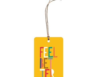 Gift Tag – Feel Better. Get Well Soon. Gift Card. Hemp Twine. Bright and Colourful.
