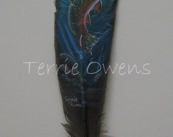 Hand Painted Turkey Feather with Mountain Trout By Wildlife Artist Terrie Owens