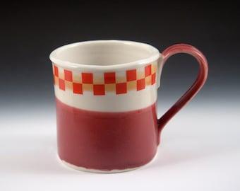 Tin Cup Series - Cranberry colors - Porcelain & checks