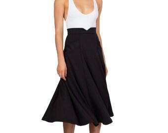 Black Midi Skirt, Swing Skirt, High Waist, Skirt With Pockets, Flared Skirt, Tea Length Skirt, Work Skirt, Office Skirt, Winter Skirt, Pinup