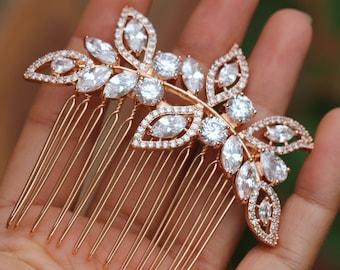 Bridal hair comb rose gold hair comb hair accessories bridal hair clip hair pc