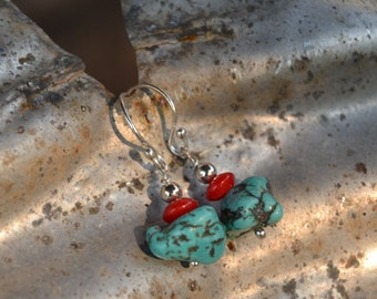 Chunky turquoise dangle earrings.