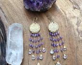 Moonstone Earrings / Amethyst Earrings / 24K Gold Vermeil / Bohemian Earrings / Gemstone Earrings