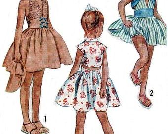 Vintage 1950s Sewing Pattern Girls Halter Sun Dress Bolero Jacket Sz 7 - 8 COPY Reproduction PRINTED COPY