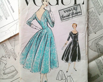 Vogue 50s Evening Dress Gown and petticoat pattern Special Design 4753 Bust 34 inches, vintage sewing patterns