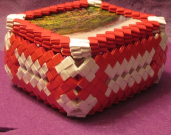 WHITE and RED TINKET Box with Mountain and Flowers