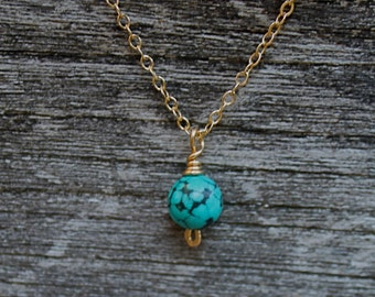 Dainty Gold Turquoise Necklace