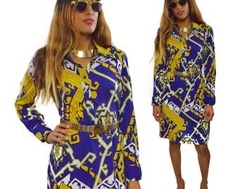 Vintage 80s Leacril Chatillon Geometric Shapes Patterns Half Shirt Dress