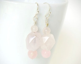 Pink Earrings, Pink Quartz Earrings, Natural Pink Quartz, Pink and Silver Earrings, Pale Pink Stones, Artisan Jewelry, Gemstone Earrings,