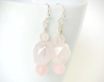 Pink Earrings, Boho Chic, Pink Quartz Earrings, Natural Pink Quartz, Pink and Silver Earrings, Pale Pink Stones, Artisan Gemstone Earrings,