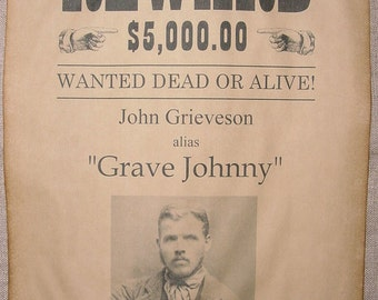 Personalized Old West Wanted Poster, Outlaw, Western, Custom