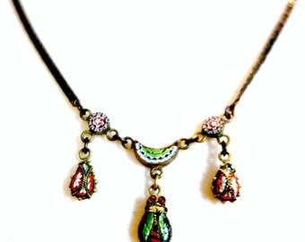 Micro Mosaic Scarab Necklace, 1900's Scarab Mosaic Drop Necklace, Antique Micromosaic Scarab Necklace