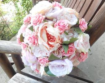 Pink Rose Bridal Bouquet w/ Grooms Boutonniere / Large 15 in Silk Bridal Bouquet / Bling Bridal Bouquet / Custom Bridal / Rustic Wedding