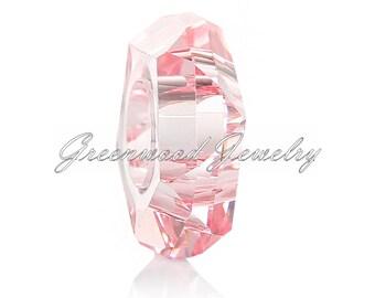 European Style Bead Charm for European Bracelet, Murano Glass, Lampwork, Unique Cut, Pink 6x14mm