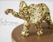 Miniature Glittered Elephant in Gold Glitter