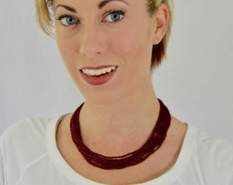 Garnet necklace, maroon necklace, claret statement necklace, beaded necklace, seed bead, prune necklace,bridesmaid necklace,bordeaux, plum