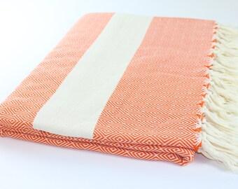 Large Beach Blanket, Picnic Blanket,Towel Blanket, Orange, Diamond, Beach Blanket Towel, Exclusive Quality, Orange