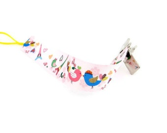 Pink Pacifier Clip/ Baby Girl Pacifier Holder/ Pacifier Clip For Babies/ Fabric Pacifier Clip - Universal