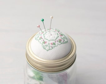 Pin Cushion Mason Jar Pin Cushion, Pin Cushion Jar Kilner jar