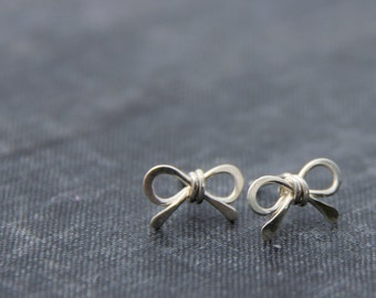 Tiny sterling silver bow stud earrings, small bow post earrings, cute, everyday, minimalist, wire wrapped, silver 925 tiny bow studs
