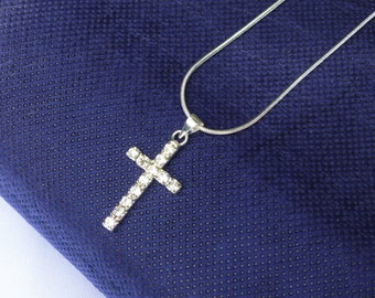 crusifix cross necklace penandt with diamonte crystals choose chain length