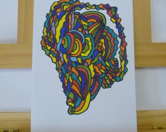 Original Psychedelic Art Hand Drawn Card, Pattern Abstract Art Birthday Card, 5 x 7 inches Greetings Card,  Fatassdesigns