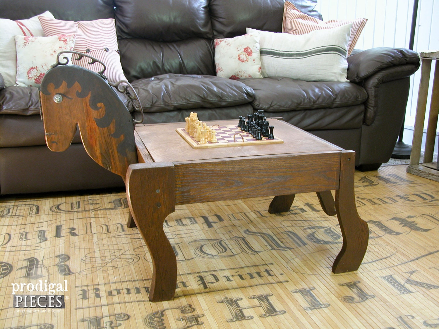 Repurposed Barn Wood And Rocking Chair Horse Game Table With
