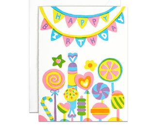 Candy birthday screenprinted card