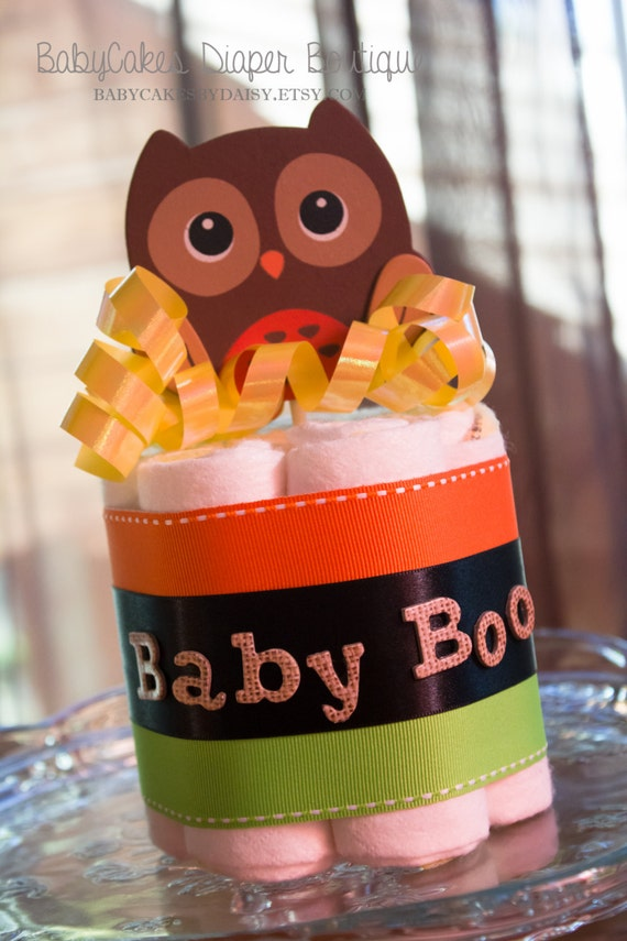 Halloween Baby Shower | Centerpiece | Baby Shower Diaper Cake | Owl | Diaper Cake