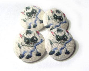 Fabric covered buttons Cats Kitten, bag purse ivory buttons, funny cartoon cat children kids buttons, sewing buttons, sweater buttons