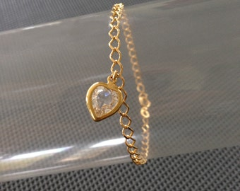 Chain Bracelet Gold Plated Zirconium with heart