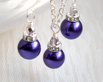 Dark Purple Necklace, Set of Necklace & Earring, Bridesmaid Gift Set, Purple Jewelry, Rhinestone Bridesmaid Jewelry, Bridal party Favors