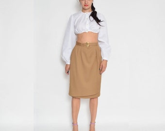 Vintage 80's Khaki High Waisted Midi Skirt