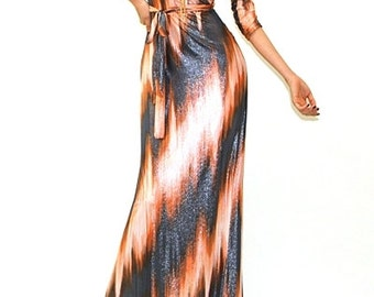 Metallic Coated Maxi Dress - 3/4 sleeve (Orange/Charcoal - Length 57 -59 Inches)