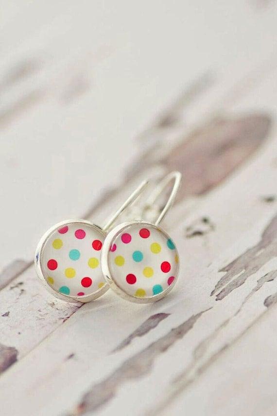 Polka Dot Lever Back Earrings - FREE POSTAGE WORLDWIDE - Drop Earrings - Rainbow - Silver - Glass Earrings - Glass Gun Metal - Jewelry