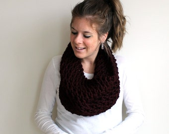 Knit Scarf Cowl Chunky Claret- Assateague Cowl