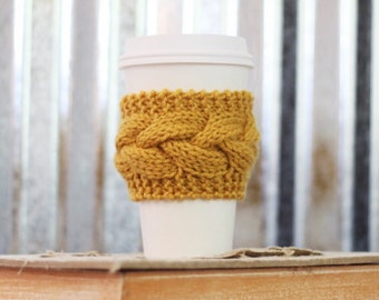 Gold Cable Knit Coffee Cozy w/Wood Button/ Tea Cozy/ Cup Cozy/ Coffee Cover/ Coffee Sleeve/ Latte Cozy